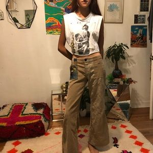 Beige corduroy bell bottom pants with embroidery